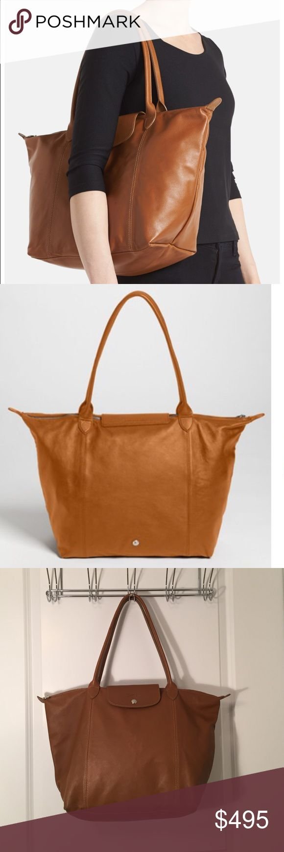 Longchamp Le Pliage Cuir Leather Tote in Tan. NWOT Longchamp Le Pliage Cuir Leather Tote in Tan. NWOT. Stunning bag for the true Longchamp fan. Longchamp Bags Totes