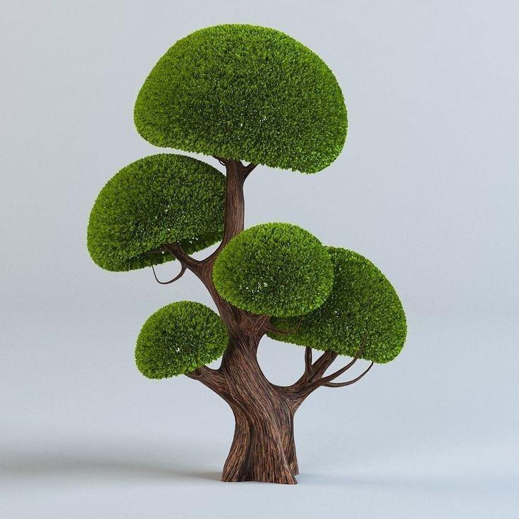 set cartoon trees 3d model