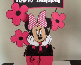 Hot pink Minnie  Mouse Happy Birthday Centerpieces, Minnie Mouse Birthday Decorations/Minnie Mouse Party.  Minnie Mouse Party Decorations.