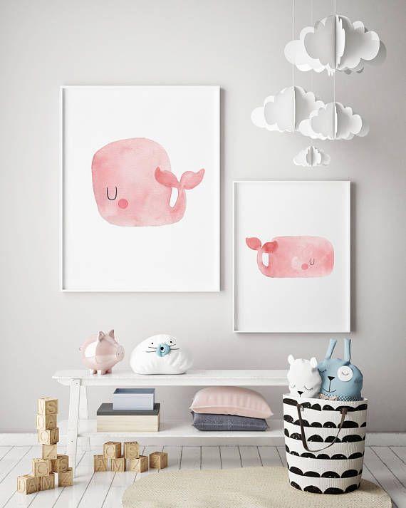 Pink Baby Whale Nursery Art Print Ocean Art Print Baby Room Art Whale Nursery Art Whale Nursery