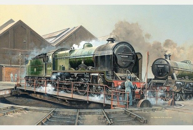 Colin Wright's painting, Patriot Turn, depicts Fowler Patriot class loco No. 45509 the Derbyshire Yeomanry and Stanier Jubilee No. 45562 Alberta outside Derby No. 4 shed in the mid 1950s.
