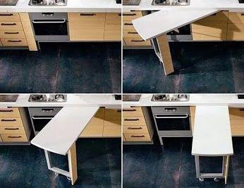 Ideas. Esconder mesa en la cocina. #kitchen #table #mesa