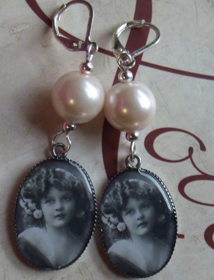 Handmade item                             Materials: Photo Cabochon, glass pearls, Silver Plated Leverbacks                                                          Ships from Colorado, United States to select countries.