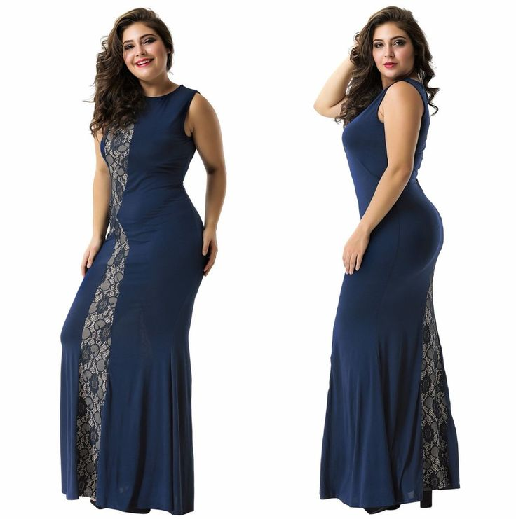 New Women's Plus Size Long Mermaid Maxi Scoop Neck Lace Navy Formal Party Dress  | eBay