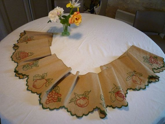 Vintage French hand embroidered shelf edging or by VeriGoude
