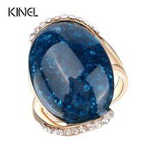 Kinel anillos de color oro rosa azul larga sección elíptica 2017 el último diseño anillos de compromiso para las mujeres(China (Mainland))