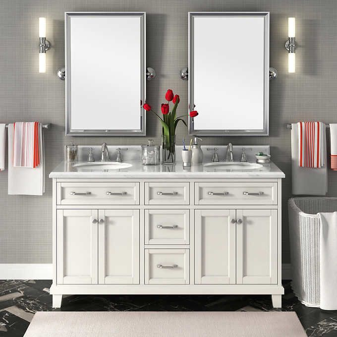 "Carolina 60"" White Double Sink Vanity by Lanza"