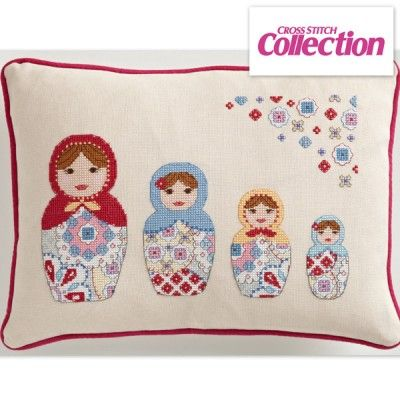 Pretty Russian Cross Stitch Kit: Angela Poole's stylish design is stitched on chunky 25HPI evenweave. Get the full kit and stitch it today!