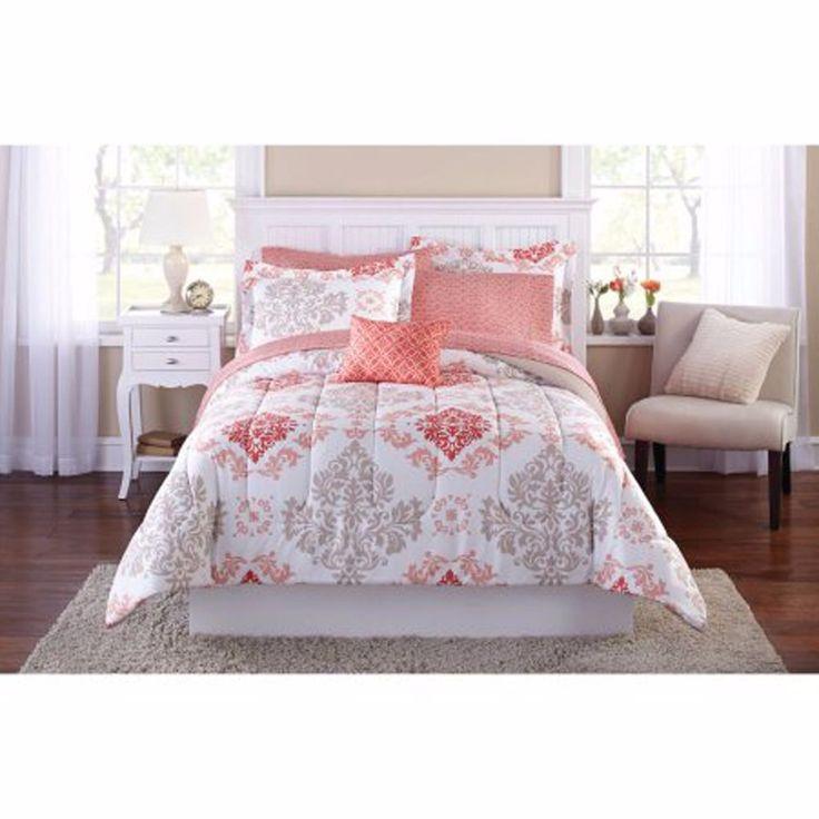 Bedding Set King Size Comforter Modern Bed in A Bag Coral Microfiber Damask | eBay