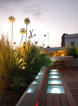 Roof terrace by Charlotte Rowe with decking, glass and dramatic lighting in Holland Park, London