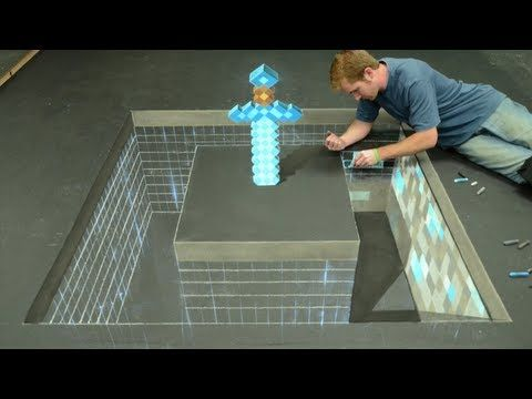 Minecraft Diamond Sword 3D Chalk Art