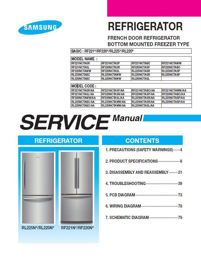 Samsung Rl225nctasr Rl225nctasp Rl225nctabc Rl225nctaww Refrigerator Service Manual Refrigerator Service Samsung Samsung Refrigerator French Door