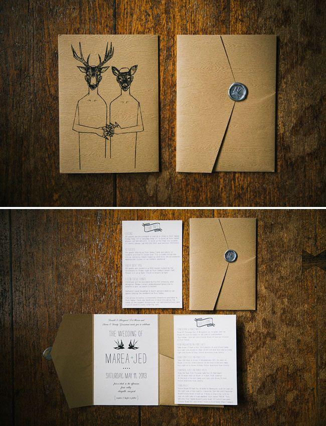 Brown craft paper rustic wedding invitations
