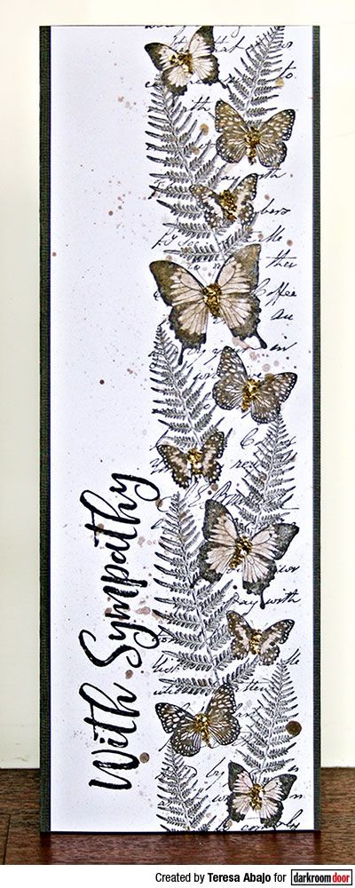 Tall card by Teresa Abajo using Darkroom Door Butterfly Garden Border Stamp and Brushed Sentiments Rubber Stamp Set