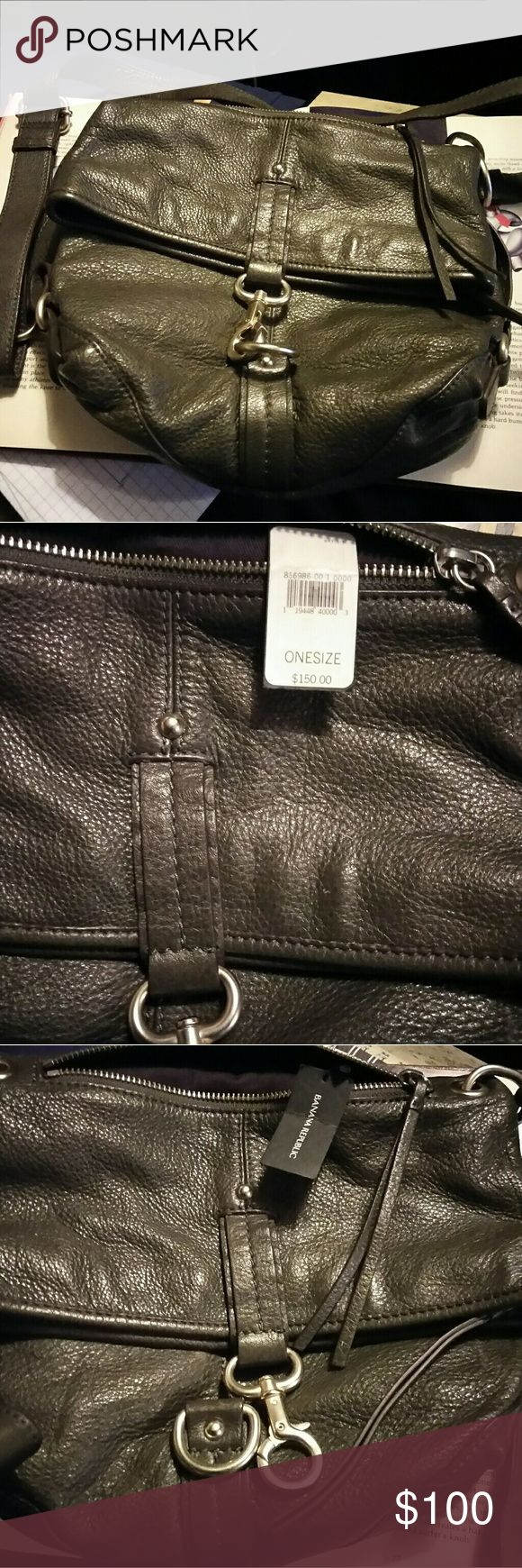 New banana republic purse with tags Grey with purple lining Banana Republic Bags