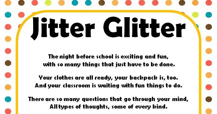 It is a picture of Critical Jitter Glitter Poem Printable