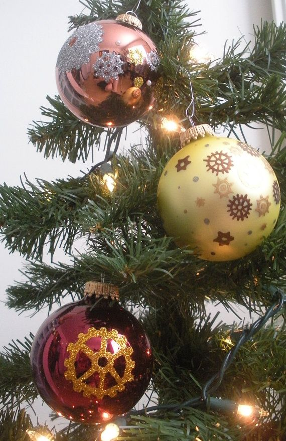 Set of 3 Steampunk Inspired Hand Painted Christmas Ornaments