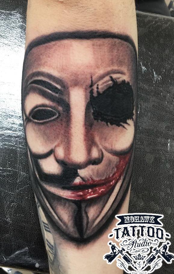 Half Vendetta half Joker tattoo :) What do you guys think? #vendetta #joker #glasgow #glasgowtattoo #paisleytattoo #scotland #paisley #mohawktattoo #tattoo #inked #ink #newtattoo #tattooed #tattoolife #inkedplus #thedailytattoos #myworldoftattoos #myworldofink #postmytattoo #theinkcollective #tattooedmen #tattooed_body_art #tattooartist #instatattoo #amazingink #uk #tattedup #inkedup #tattoooftheday #girlswithtattoos