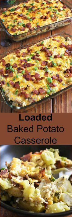 Loaded Baked Potato Casserole full of cheesy, gooey, bacon-y, chicken-y wholesome goodness can be on your table and feed a crowd in 45 minutes!