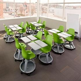 Node chair with work surface and storage.  Easy to configure into different classroom set ups for lecture, group work, independent work, etc.