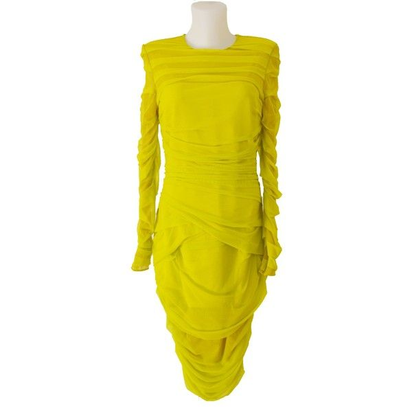 Versace Neon Green Draped Cocktail Dress found on Polyvore featuring polyvore, women's fashion, clothing, dresses, yellow dress, bodycon cocktail dresses, red carpet dresses, yellow long sleeve dress and fitted dress
