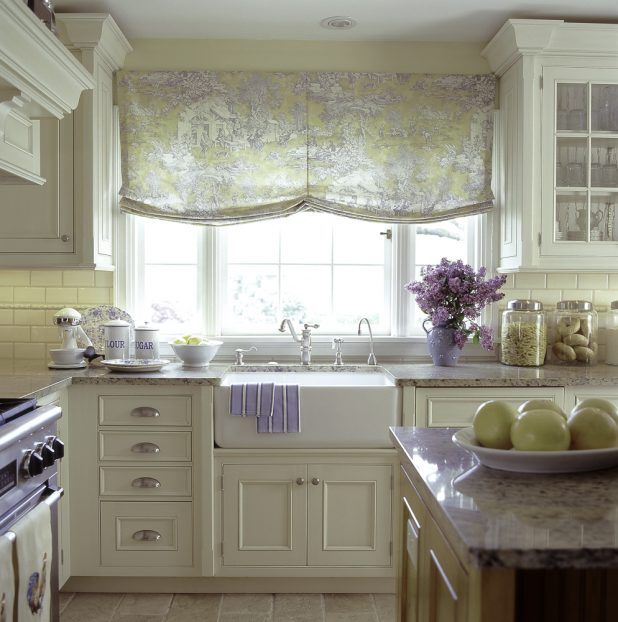 Small french country kitchen decorating with beige wood table drawer of lid using white countertop marble complete sink double steel faucet design and windows white curtain in wall also up storage drawer glass lid simple design