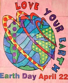 """Earth Day Group Poster Project: Not only is there ONE cool Earth Day group poster in this lesson but there are TWO cool designs. Let the kids vote on their favorite design OR just make both!This project is so much fun because, in the end, you will have a very large (approx. 29""""x36"""") Earth Day poster that you can have laminated and use for years to come."""