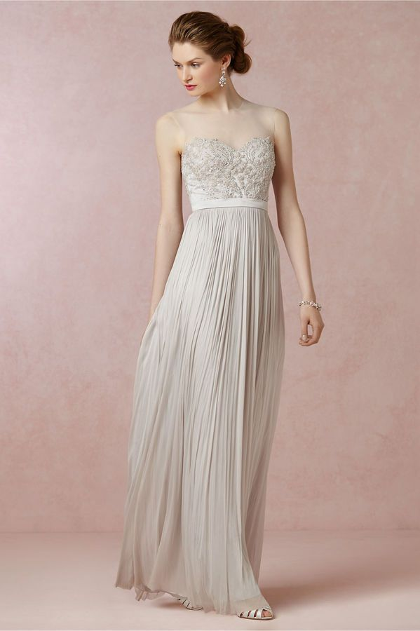 Simple A Line Princess Jewel Floor length Chiffon wedding dress