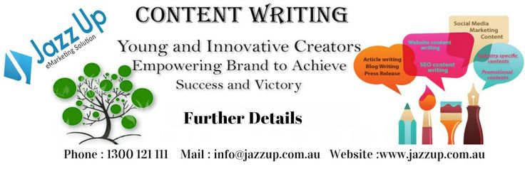 Jazz Up Content Writer:  Jazz Up's professional copywriters are expert in creating valuable web content and SEO for small business ventures. Hurry up get a competitive quote for copywriting or website evaluation, and also rewriting.  Website: www.jazzup.com.au Phone: 1300 121 111 Email: info@jazzup.com.au  #jazzup #contentwriter #australia #digitalmarketing #onlinemarketing