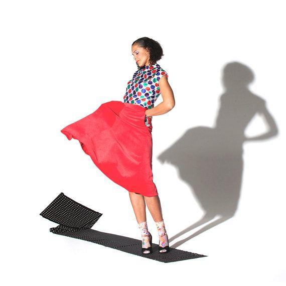 SALE - Swing Skirt - 'Texan Belle' skirt in red corduroy