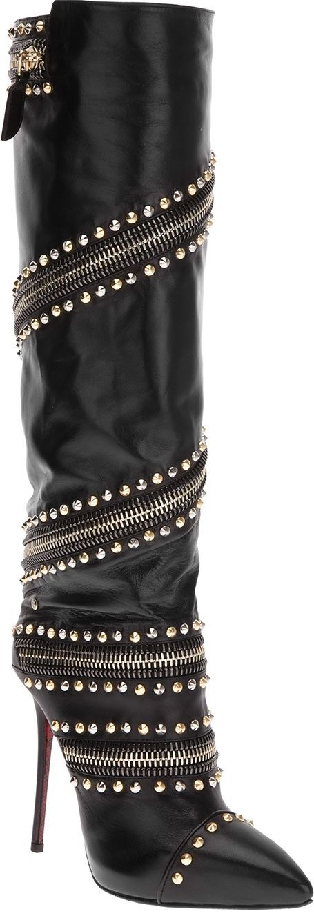 CESARE PACIOTTI black silver studded high heel knee high boots  | The House of Beccaria