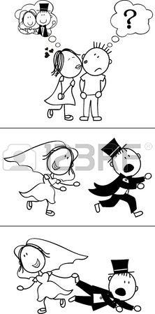 conjunto de dibujos animados par aislado, desbocado novios, ideal para la invitación de boda divertida, muy fácil de editar, objetos individuales de formato vectorial