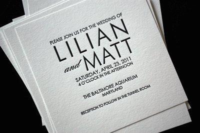 Letter press wedding invitation - love it