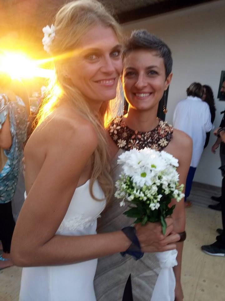 Claudia and Cristina -A very happy bride and our designer :) #follementesposa #perfectweddingsmalta
