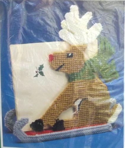 Reindeer Bernat Plastic Canvas Christmas NOS 1991 Unopened KIT Napkin Holder