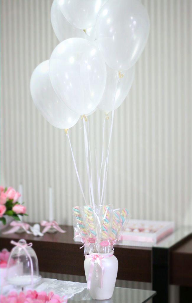 Batizado baptism party decor festa decora ao mesa de for Balloon decoration for christening party