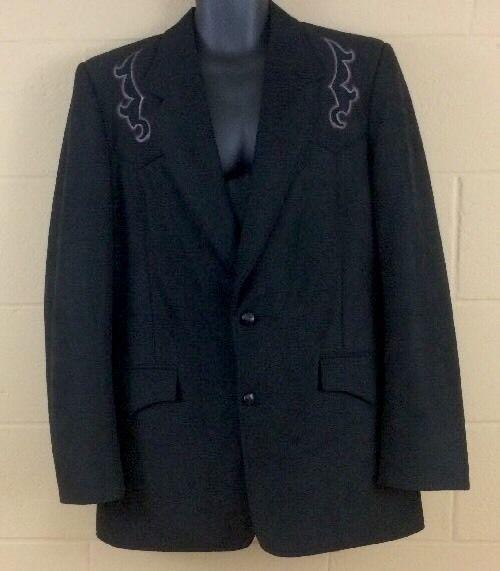 VTG Preowned Sheplers Mens Black Western Suit Jacket 42 L 100% Polyester USA #Sheplers #TwoButton