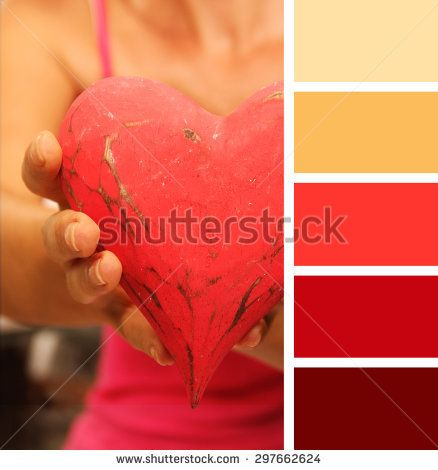 girl giving hands heart.  color palette swatches.