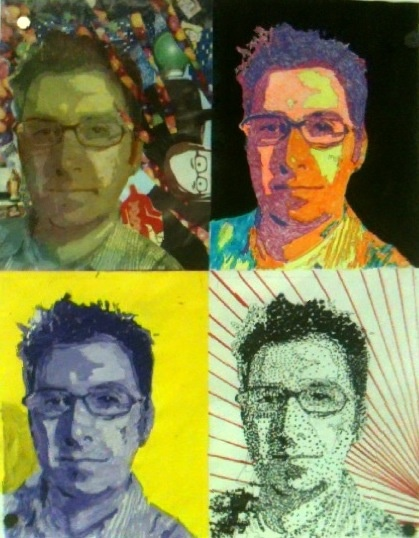 Pop art portraits in 4 different styles.  Collage, Fauvism, monochromatic, and stippling.