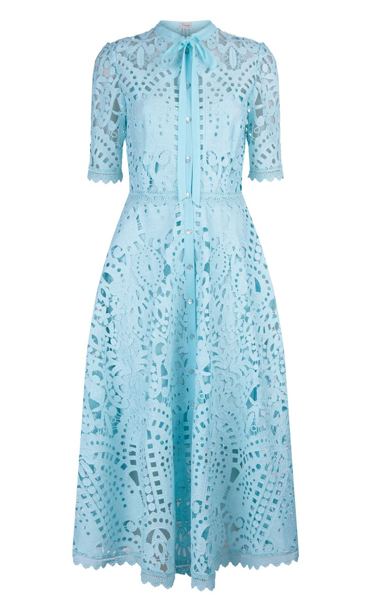 Temperley Berry Lace Neck Tie Dress