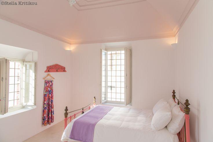 pale pink bedroom, romantic, modern traditional, villa, mesaria, santorini, greece