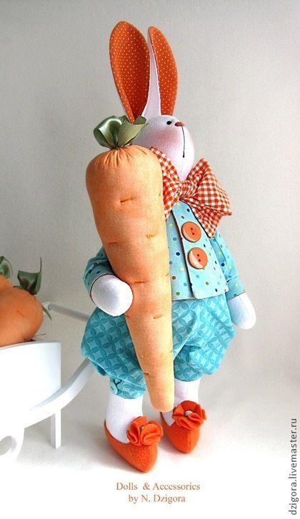 Игрушки животные, ручной работы. Ярмарка Мастеров - ручная работа Кролик Петруччио - морковные уши. Handmade.