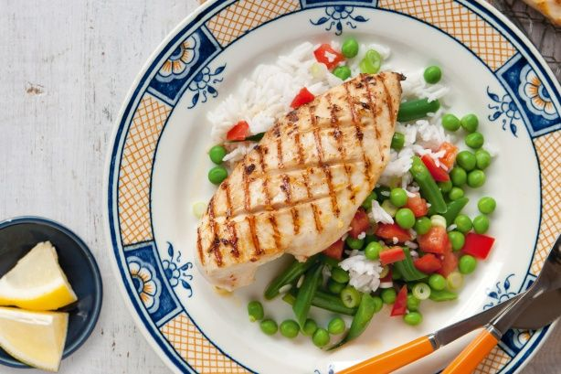 Portuguese-style chicken with rice & green bean salad THIS IS AMAZING!! (I added 1 ts cornflour to the marinade)
