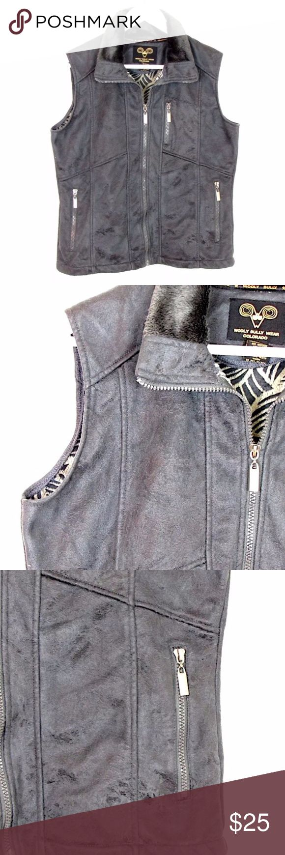 "Wooly Bully Wear Colorado Gray Fleece Vest Sz S Brand:  Wooly Bully Wear Colorado Style:  zipper front vest, fleece lined Size:  S Color/Pattern:  Gray Material:  100% polyester Measurements taken flat:  -Across under arm: 20"" -Shoulder to hem: 23"" Care Instructions: Machine wash, tumble dry  Condition: No flaws. See pictures for details. Wooly Bully Wear Jackets & Coats Vests"