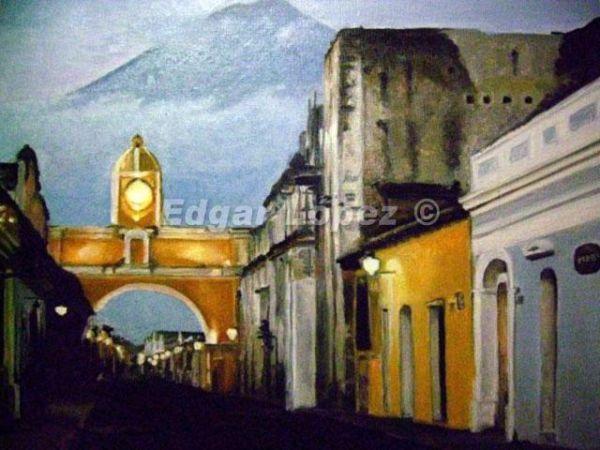 Pintura al óleo Paisaje de Antigua Guatemala. | oil ...