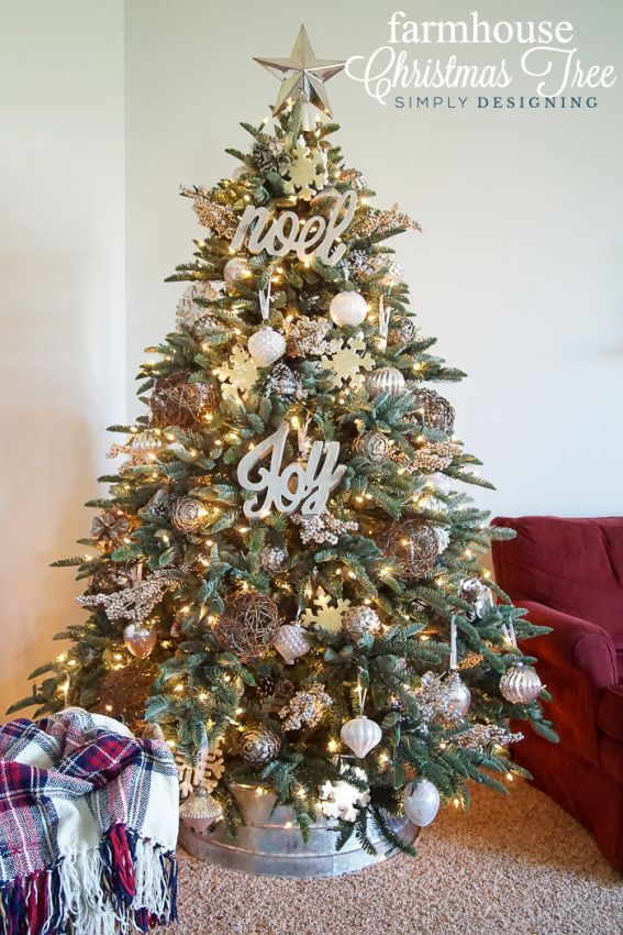 Farmhouse Christmas Tree with silver white and