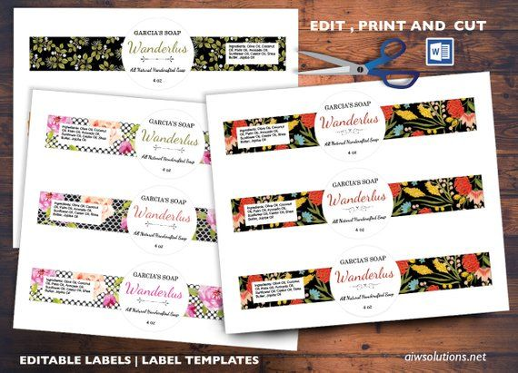 Round Center Soap Band Label Cigar Style Label Editable Etsy Soap Labels Template Label Templates Soap Labels