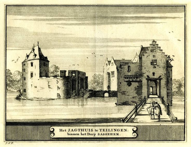 Het Jagthuis te Teilingen - Sassenheim, 1711 (thans ruine Teylingen)