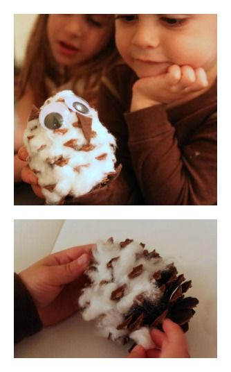 Pinecone Snow Owl - A fun & furry winter craft with just cotton, googly eyes, felt, & pinecones!