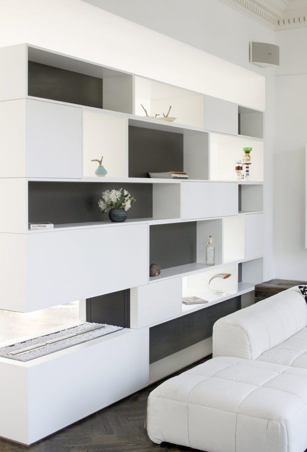 first is wall shelf design in white and grey in remmelt showroom so elegant - Designer Wall Units For Living Room